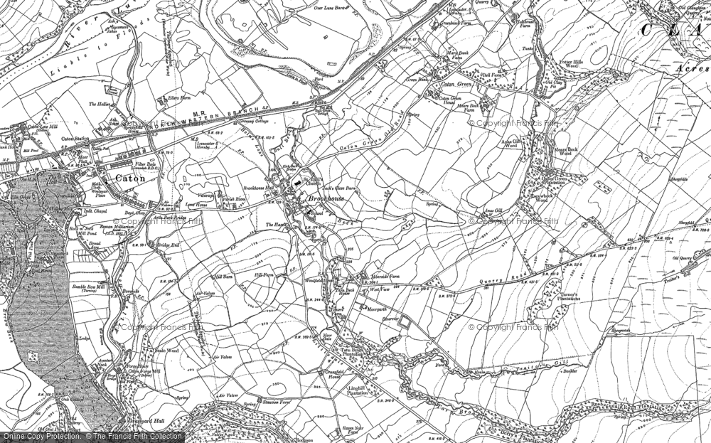 Old Map of Historic Map covering Artle Beck in 1910