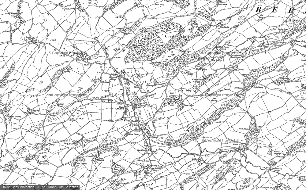 Old Map of Historic Map covering Wyle Cop in 1884
