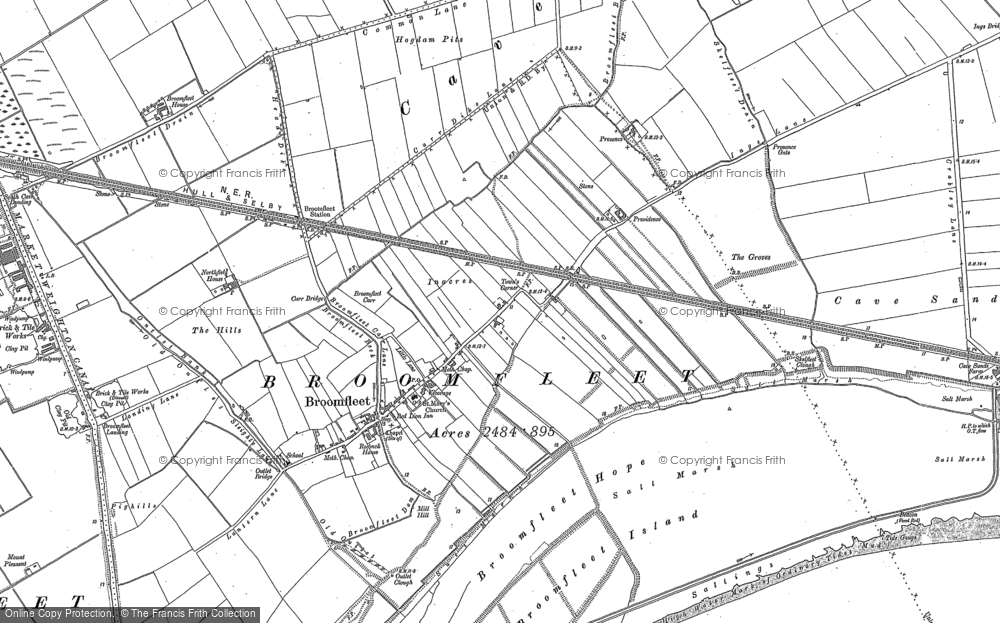 Old Map of Historic Map covering Laxton Grange in 1888