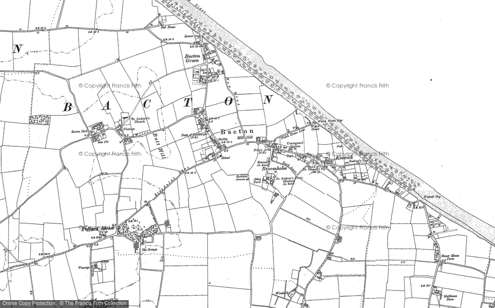 Old Map of Historic Map covering Bacton Green in 1885