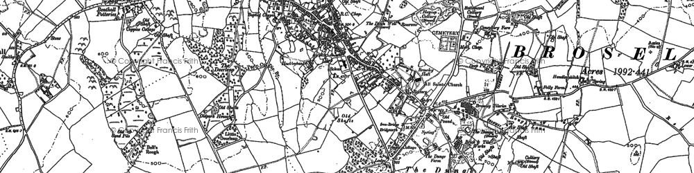 Old map of Broseley in 1882