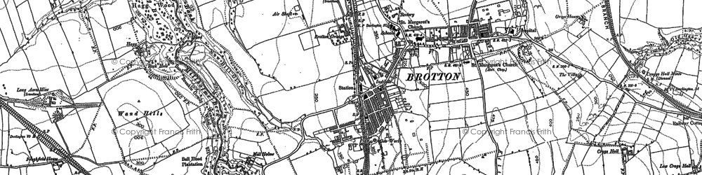 Old map of Brotton in 1893