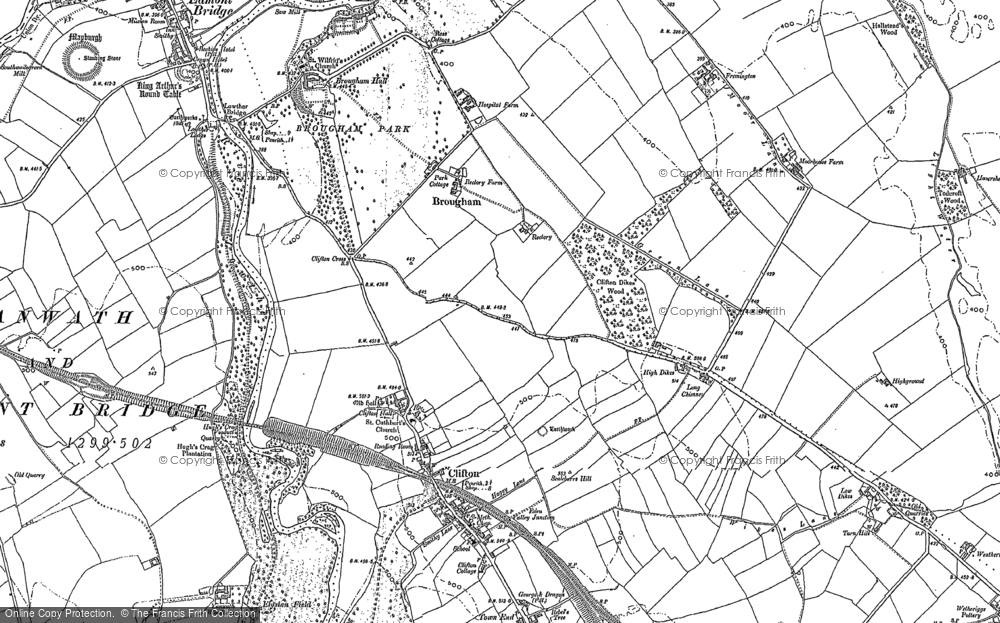 Old Map of Historic Map covering Whins Pond in 1913