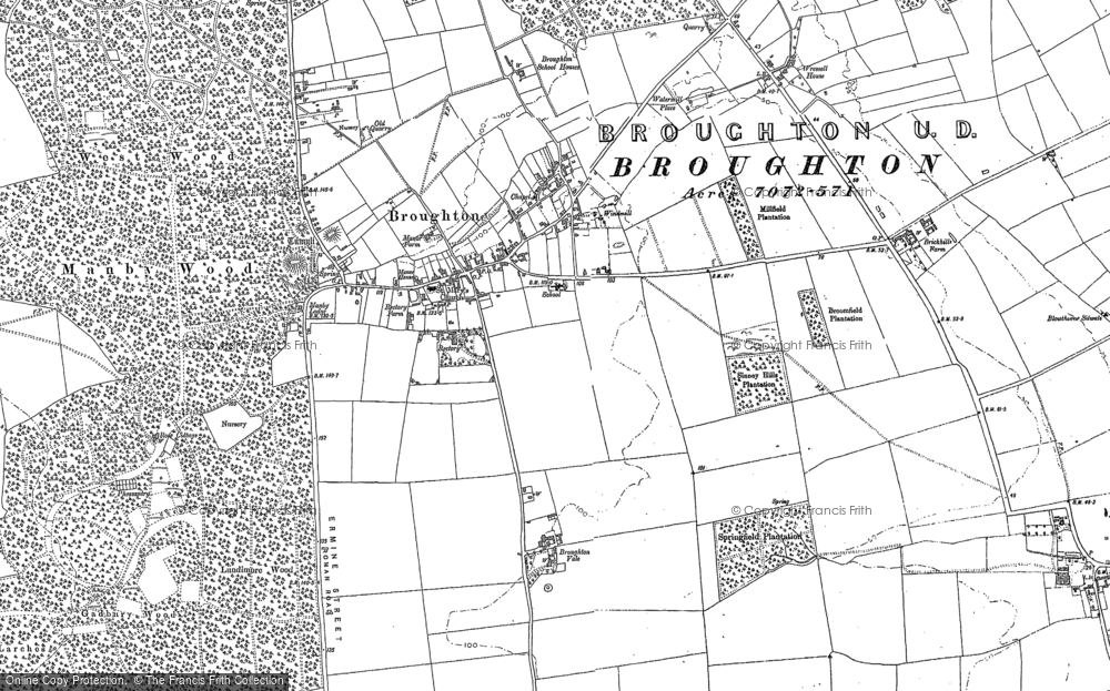 Old Map of Broughton, 1885 - 1886 in 1885