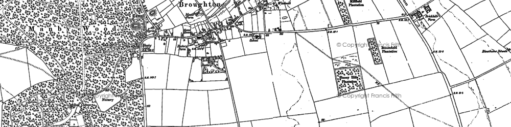 Old map of Broughton in 1885