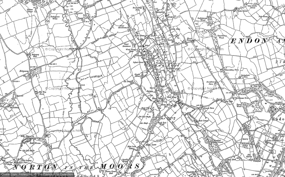 Old Map of Historic Map covering Ball Green in 1878