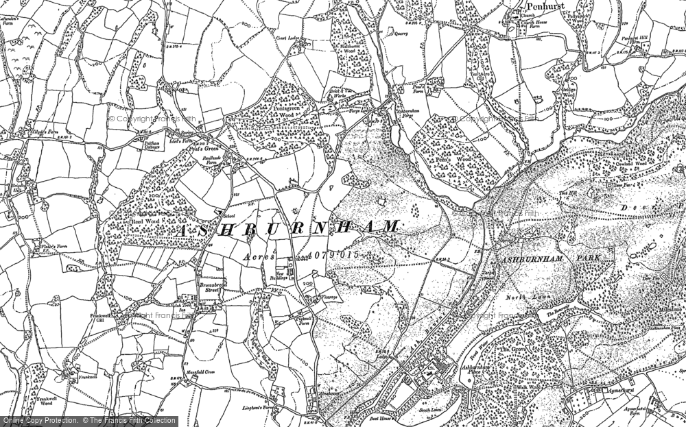 Old Map of Historic Map covering Ash Bourne in 1897