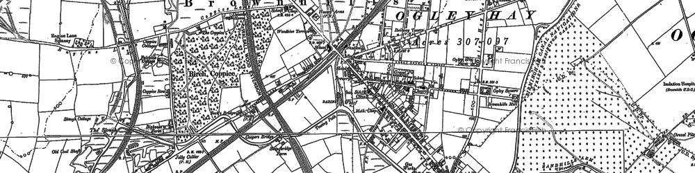 Old map of Brownhills in 1883