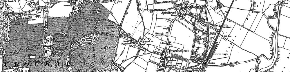 Old map of Broxbourne in 1896