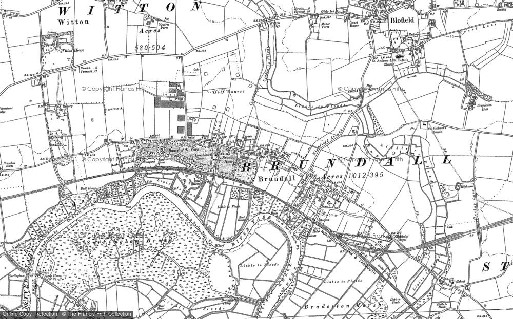 Map of Brundall, 1881 - 1884