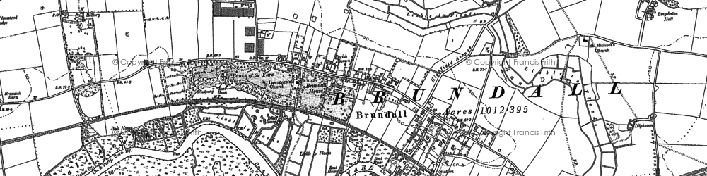 Old map of Brundall in 1881