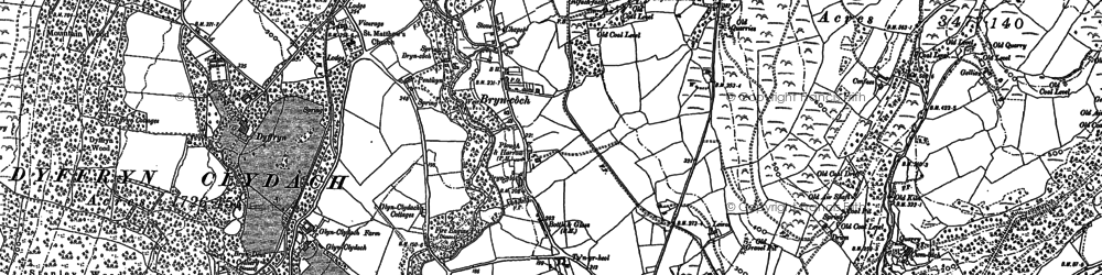 Old map of Bryncoch in 1897