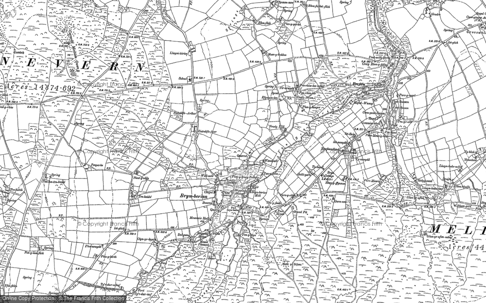 Old Map of Historic Map covering Afon Pennant in 1888