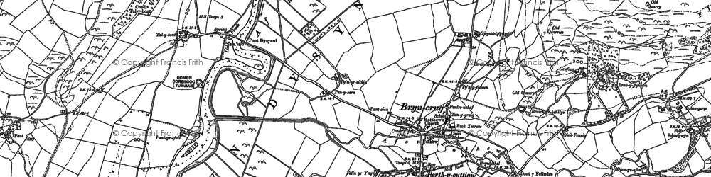 Old map of Afon Dysynni in 1900