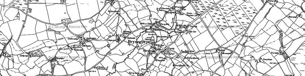Old map of Bryneglwys in 1899