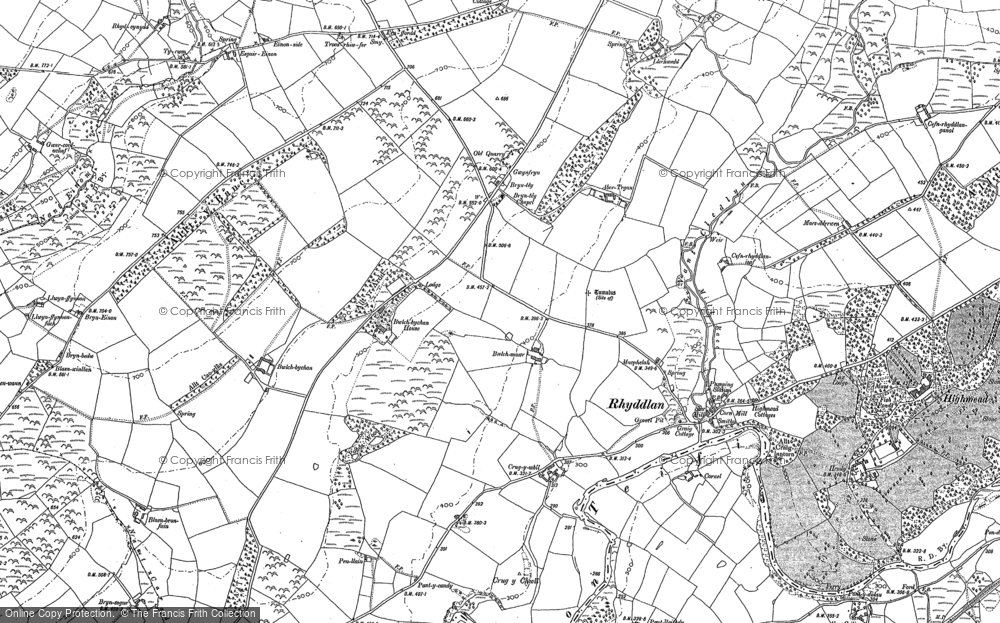 Old Map of Historic Map covering Abertegan in 1888