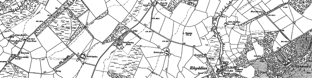 Old map of Abertegan in 1888