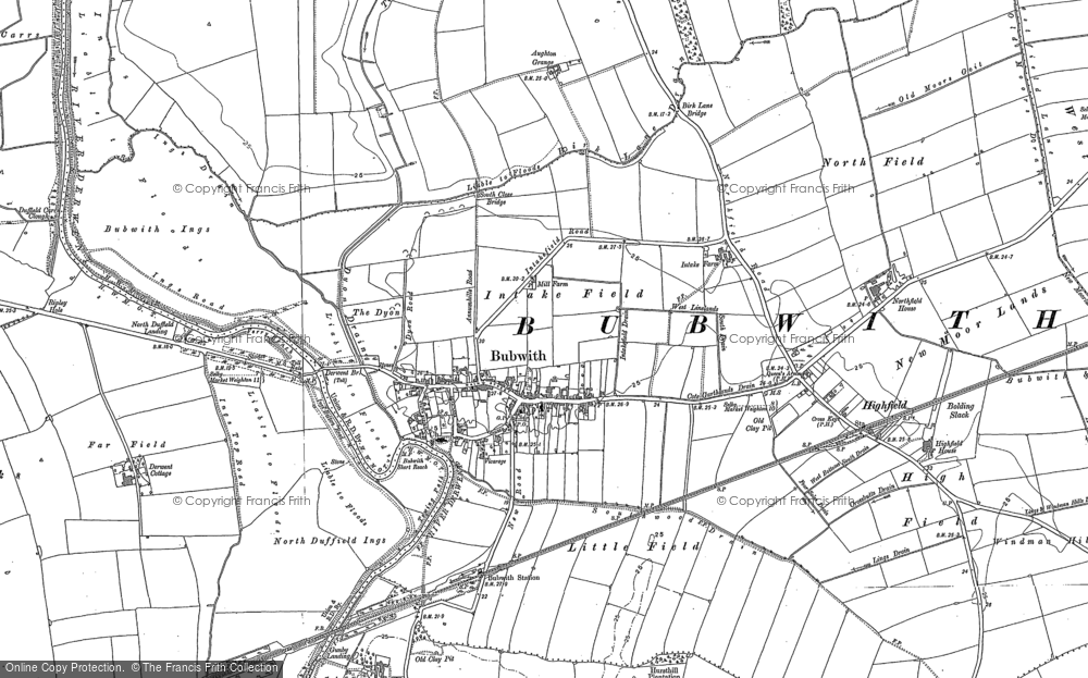 Old Map of Historic Map covering Aughton Grange in 1889