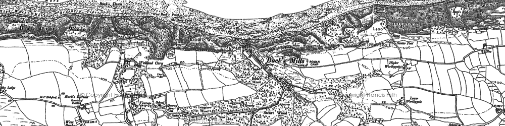 Old map of Buck's Mills in 1884