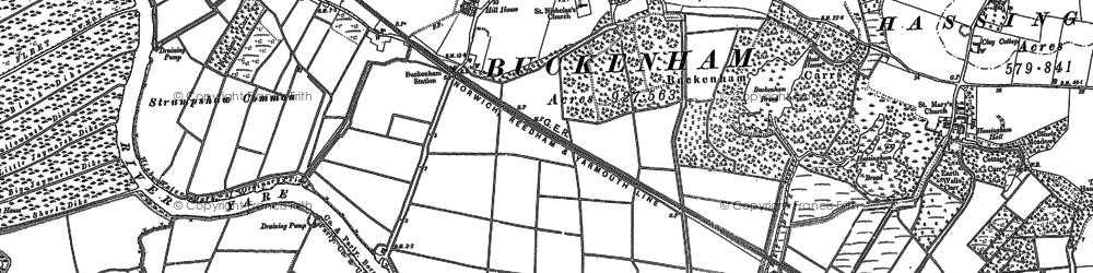 Old map of Buckenham in 1881