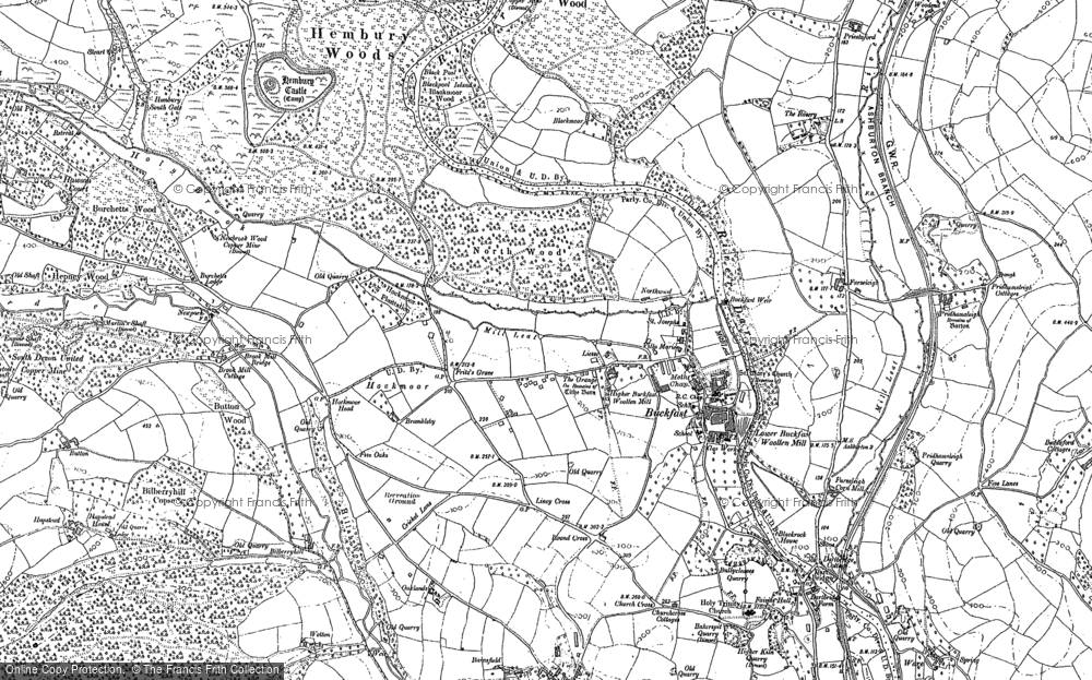 Old Map of Historic Map covering Baddaford in 1885