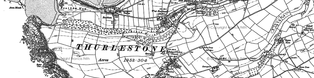Old map of Aunemouth in 1884