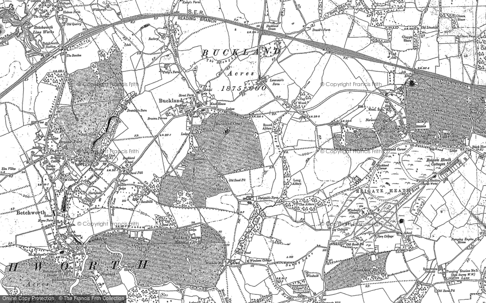 Old Map of Historic Map covering Wonham Manor in 1895