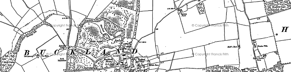 Old map of Buckland in 1910
