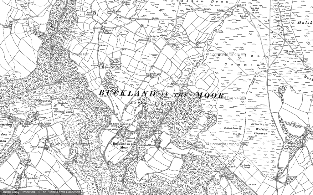 Old Map of Historic Map covering Ausewell Cross in 1885