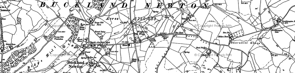 Old map of Woolford's Water in 1887