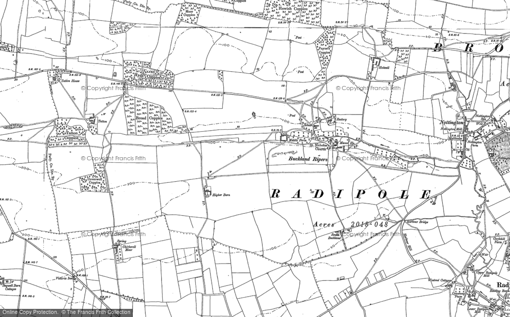 Old Map of Historic Map covering Langton Cross in 1886