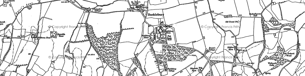 Old map of Bucklebury in 1898