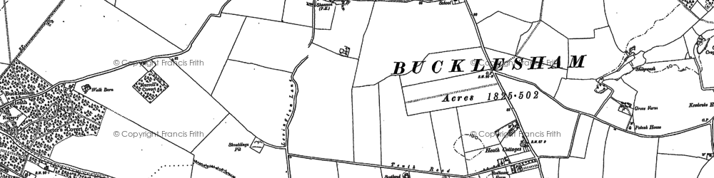 Old map of Bucklesham in 1880