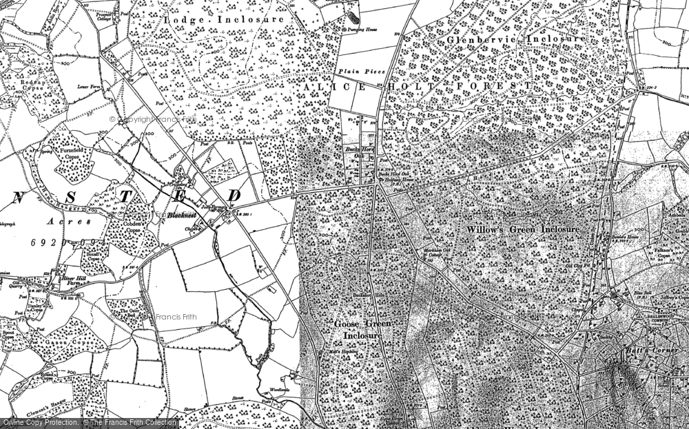 Old Map of Historic Map covering Alice Holt Forest in 1909