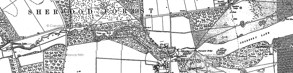 Old map of Budby in 1884