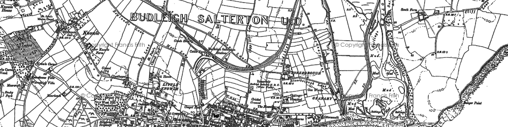 Old map of Budleigh Salterton in 1888