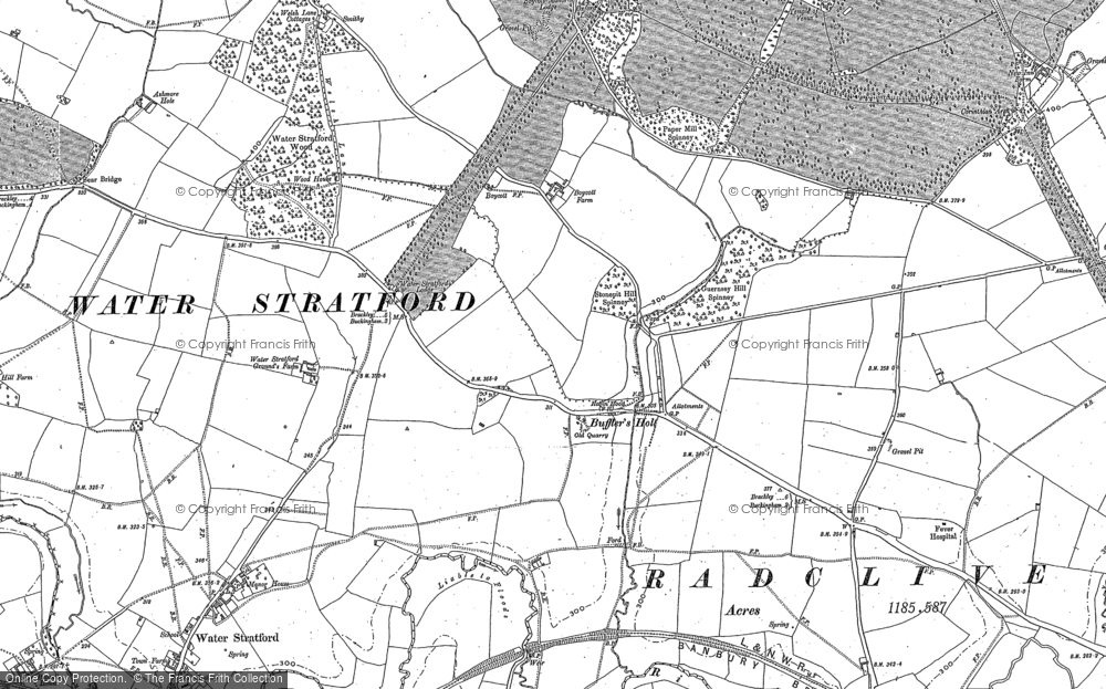 Old Map of Historic Map covering Tingewick Mill in 1898