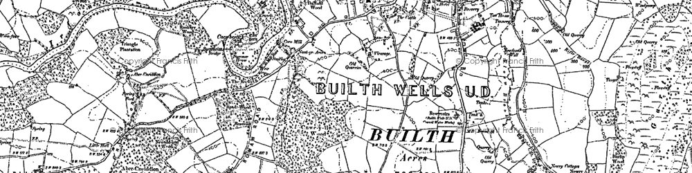 Old map of Builth Wells in 1903