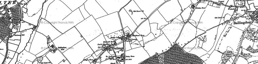 Old map of Auberies in 1896