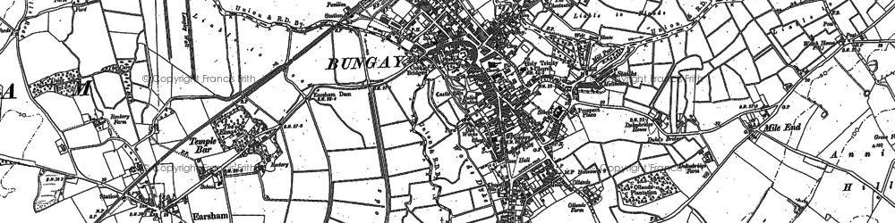Old map of Bungay in 1903