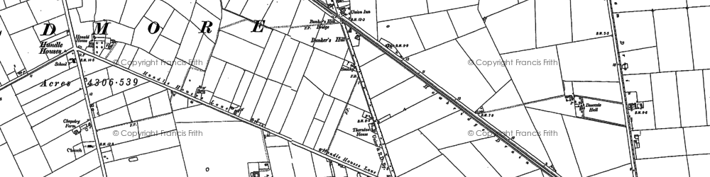 Old map of Wildmore Fen in 1887