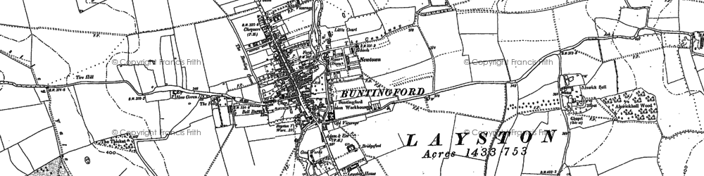 Old map of Buntingford in 1896