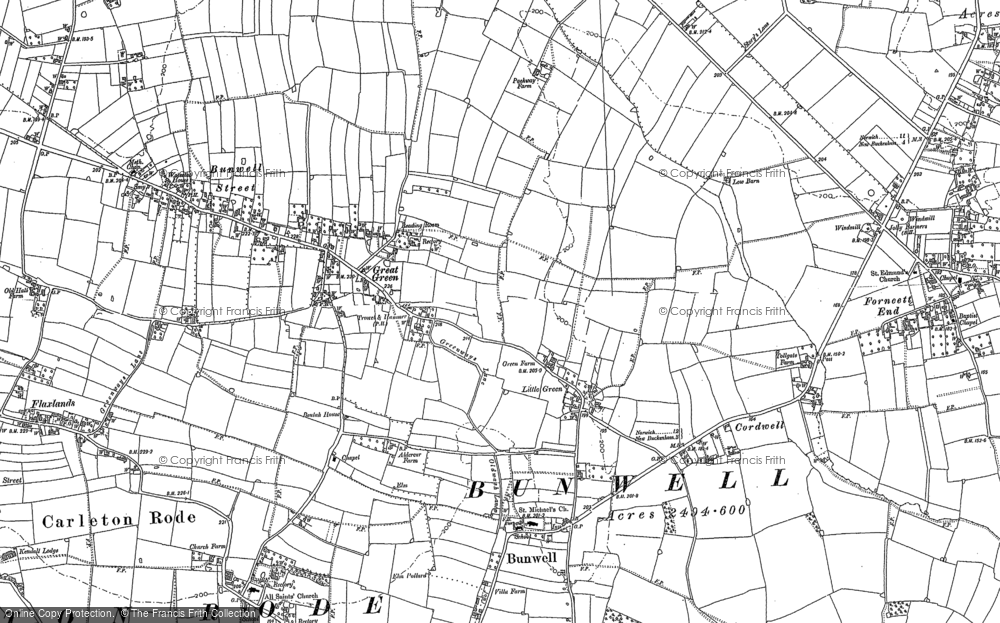 Old Map of Historic Map covering Banyards Hall in 1882