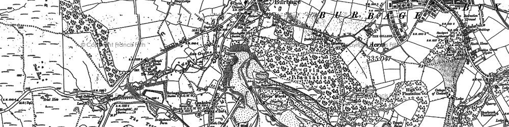Old map of Burbage in 1879