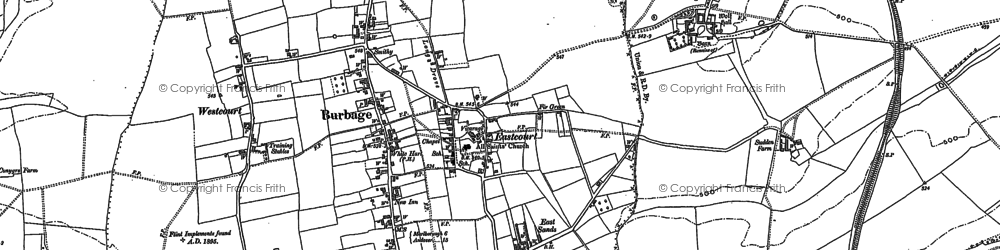 Old map of Burbage in 1899