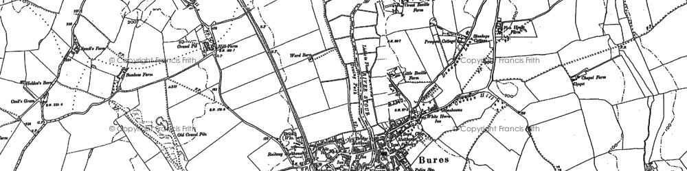 Old map of Bures in 1885