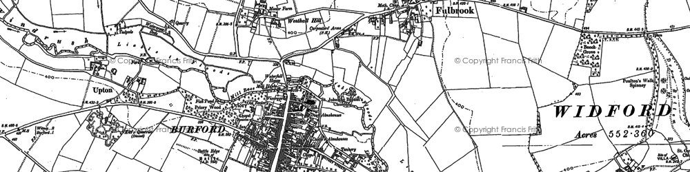 Old map of Burford in 1889