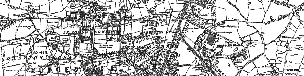 Old map of Burgess Hill in 1896