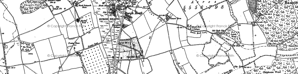 Old map of Burgh Heath in 1895