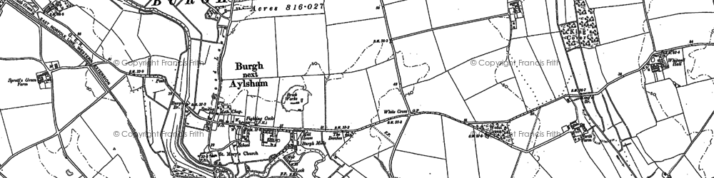 Old map of White Cross in 1885